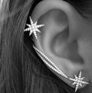 Yüksek kalite 20 adet / grup Yeni moda Parlak küpe gümüş asimetrik Kar Tanesi kulak Manşet Kişilik kore Kulak Klip manşetleri