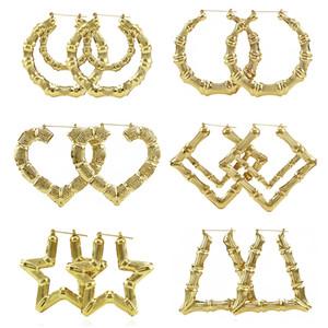 2017 vendita calda maxi grande cerchio orecchini a cerchio donne color oro etnico grande vintage mogli di bambù orecchini per famale gioielli regalo all'ingrosso