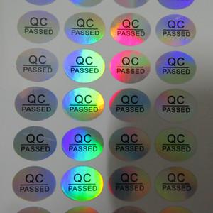 16 * 13mm kalıcı yapıştırıcı yuvarlak QC GEÇTİ şişe mühür anti-sahte hologram kendinden yapışkanlı etiket etiket 900 adet oval holografik renkli etiket