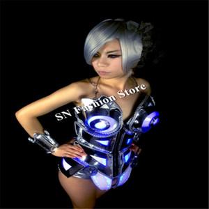 As002 бальный зал серебряное зеркало костюмы / танцевальное платье бюстгальтер сценическая модель шоу одежда красочные светодиодные бар DJ дискотека платье