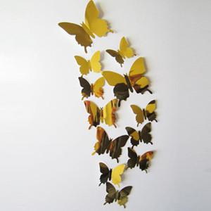 Toptan-12 adet 3D kelebek duvar çıkartmaları ev dekor oturma odası Ayna Duvar Çıkartmaları Sanat Buzdolabı Mıknatısı ev Dekorasyon adesivo de parede