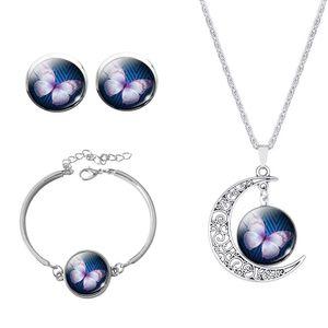 Vintage Maxi Necklace Sets Farfalla Picture Moon Dichiarazione Collana Orecchini Bracciale Bangle Set per le donne spedizione gratuita