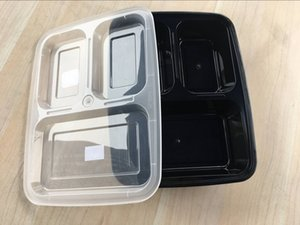 New Disposable Take Out Containers Food Box 3 Compartment Black Food Container with Transparent Lid Cover