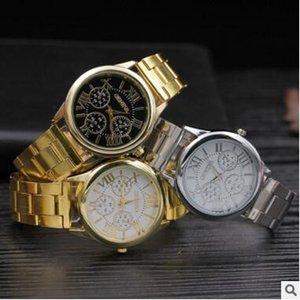 Lujo Ginebra Relojes de acero inoxidable Relojes de aleación de metal Moda casual roma diseño dial vestido de cuarzo deporte Relojes de pulsera de oro