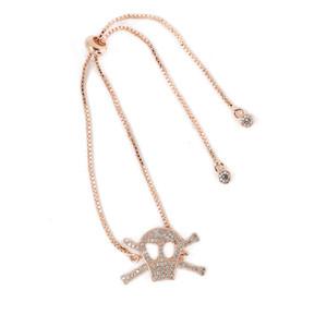 4 Color Newest Jewelry Bracelet ECO-Friendly Skull Shape Micro Pave Charm Chain Bracelet with Cubic Zircon ICSL008