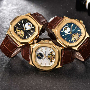 Nueva tendencia OEM acero inoxidable proveedor de China correa de cuero genuino reloj de pulsera hombres de lujo U09888