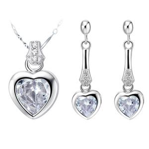 NUOVO pendente Collana orecchino diamante vestito 925 Sterling Silver Heart Jewelry Set esportato su misura vestito