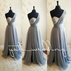 Silver Gray One Shoulder Bridesmaid Dresses Crystal Beaded Pleated Chiffon Floor Length Flowy Purple Wedding Guest Dresses Maid Of Honor