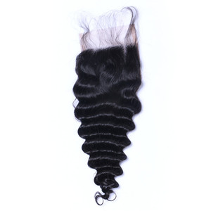Derin Dalga Curl Dantel Kapatma ağartılmış Knots Brezilyalı Derin Kıvırcık İnsan Saç Kapatma Ücretsiz Orta 3 Bölüm% 100 İnsan Saç
