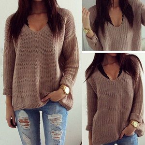Wholesale-Autumn Winter Womens Casual Jumper V Neck Long Sleeve Pullover Tops Ladies Knitted Sweaters Loose Dark Color for women clothing