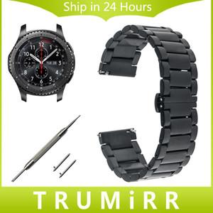 Cinturino orologio in acciaio inossidabile all'ingrosso-22 mm + Perni a sgancio rapido per Samsung Gear S3 Classic Frontier Butterfly Buckle Strap Link Bracelet