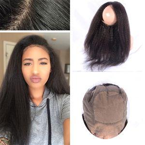 Base en soie 360 Fermeture frontale en dentelle Indien Kinky Droite Vierge Cheveux bruts Yaki Pré-cueilli Soie Top 360 Dentelle Bande Frontaux