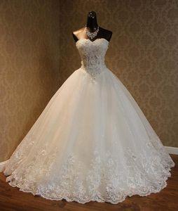 Hot Vendas vestido de baile vestidos de casamento extravagante contas de cristal Applique Branco Marfim personalizado Sweetherat Tulle Lace princesa vestidos de noiva W1619