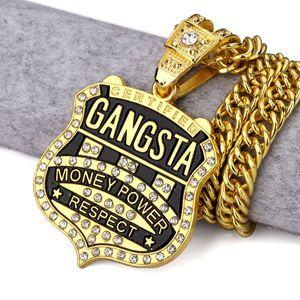 "Collar para hombre de Hip Hop 18k chapado en oro y plata Gangsta Money Power CZ Collar colgante de plata negro 35 ""Collar de cadena larga cubana Joya"