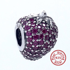 Pave Strawberry Red CZ 2016 Summer 100% 925 Sterling Silver Beads Fit Pandora Charms Pulsera Auténtica Europea DIY Bead Fashion Jewelry
