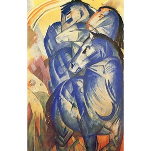 Hand painted oil reproduction of Franz Marc Paintings on canvas The Tower of Blue Horses Home decor