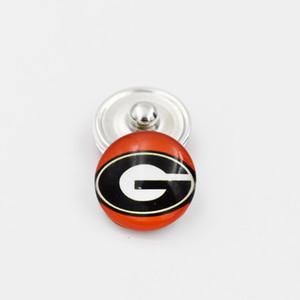 Georgia Bulldogs Snap mezclaron los botones de cristal redondo encantos 18MM Colegio Equipo deportivo enganchen Accesorios Para collar pendiente de la pulsera