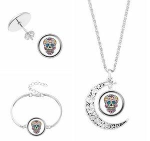 2018 temps gem collier crâne main caténaire Stud boucles d'oreilles collier trois pièces verre femmes bijoux + livraison gratuite 372