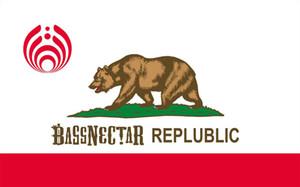 Bandeira da república de Bassnectar de Califórnia 3ft por bandeiras e por bandeiras do poliéster 100d de 5ft