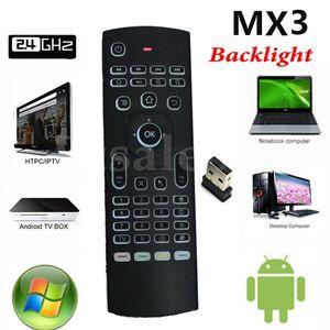 스마트 TV 안 드 로이드 TV 상자 MXQ 프로 S912에 대 한 모션 센서와 2.4 G MX3 X8 백라이트 미니 비행 공기 마우스 무선 게임 키보드 원격 컨트롤러