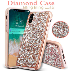 La caja del diamante para el iPhone 11 Pro Max Samsung A30 Nota 10 S10 premium Bling 2 en 1 caja de lujo del diamante para el iPhone X 8 Glitter Casos Opppackage