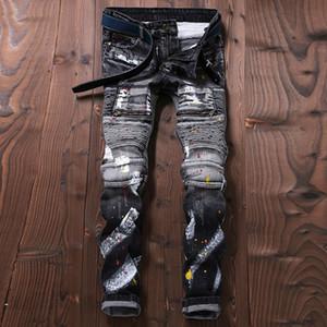 Wholesale- europäische stilvolle Designer Herren Jeans Punk Street Bunte Farben Hosen dünne Sitz Spliced Jeans Men Grau Farbe Biker Jeans