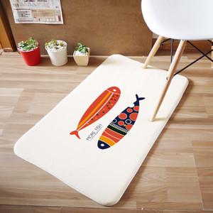 -Toptan Faydalı 50 * 80cm Mercan kadife Bath Mats Banyo Kilim Emici Kaymaz Bath Mats Balık Halı 5colors