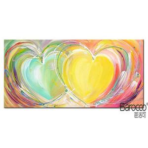 Moderno corazón colorido abstracto 100% pintado a mano pintura al óleo sobre lienzo grueso Moda decoración del hogar Wall Art Paintings
