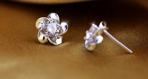 Fashion Silver Blossoming Plum Zircon Earrings Stud Earrings Wedding Jewelry the high-end fashion women stud earrings