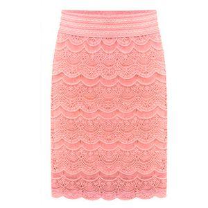 Lace estate Donne Pencil Gonne nuovo modo di colore rosa di colore giallo signore dell'ufficio elegante gonna Jupe Bottoms Abbigliamento Plus Size Women Saias