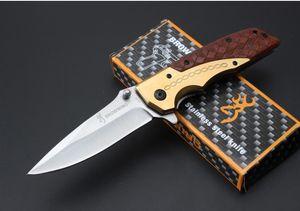 Browning DA77 패스트 오픈 전술 폴딩 나이프 우드 핸들 5Cr15Mov 57HRC 야외 하이킹 사냥 서바이벌 포켓 나이프 Xmas 선물 콜렉션