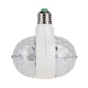 Vente en gros - E27 / B22 double tête lampe rotative 6W RGB LED ampoule lampe boule scène lumière disco DJ lumière RVB LED ampoule AC 85-265V