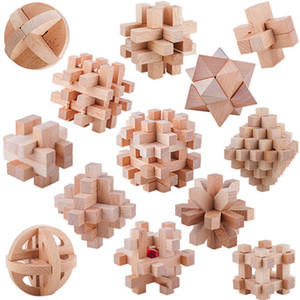 Free shipping Wooden Fight toys Luban lock Kong Ming lock Nine rings brain game 13 pieces