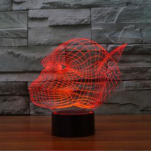 고릴라 머리 화려한 3D 환상 램프 LED 빛 터치 스위치 스테레오 조명 그라디언트 화려한 밤 빛