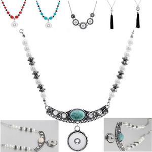 Neue Styles DIY Schmuck Hot Sellers SNAP Quaste und Türkis Snaps Halskette fit 18mm Ingwerkeks Buttons Großhandel
