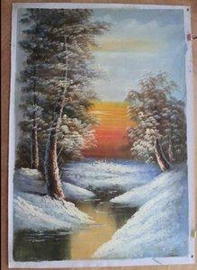 Emoldurado paisagens árvores, Pure Artesanato Paisagem pintura a óleo da arte Na Lona de Alta Qualidade para a Decoração Da Parede Multi tamanhos Frete Grátis