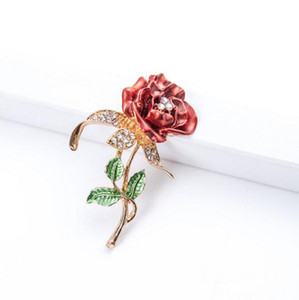 4 Renk Güzel Yapay elmas Moda Takı Gül çiçek Bud Altın Tabak Pembe Rhinestone Kristal Broş Pin İçin Kadın Düğün Noel Hediyesi