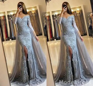 New Split Mermaid Lace Prom Dresses 2019 Long Sleeves Appliques Beads Sweep Train Sexy OverSkirts Evening Party Gowns Vestidos Cheap Custom