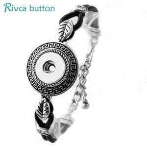 Gros-P00824 Date Snap Button BraceletBangles Nouvelle Conception De Mode En Cuir Charme Bracelets Fit 18mm Rivca Snap Button Bijoux