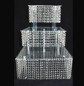Crystal Acrylic Wedding Cake Stand Postre Mesa Cake Rack Wedding Centerpiece Cupcake Stand 3 capa squre
