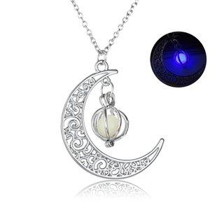 무료 DHL 2019 어두운 목걸이에 빛나는 광선 Moon Pumpkin Pendant Necklaces 여성 남성 Jewery 크리 에이 티브 크리스마스 할로윈 선물 B456Q F