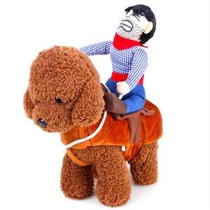 ركوب الخيل الكلب زي مع قبعة رعاة البقر لكلب صغير كلب كبير القط مضحك الذهبي المسترد هالوين حزب custome الملابس