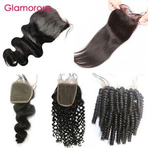 Glamouröser 100% Jungfrau Menschliches Haarstück Brasilianische Körperwelle Gerade Tiefe Welle Geschirr Geschlecht Kinky Curly Hair Verschlüsse Freies Teiling 4x4 Spitzeverschluss