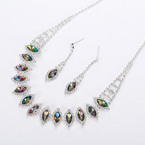 2017 новый серебристый многоцветный австрийский Кристалл цепи ожерелье + серьги ювелирные наборы бесплатная доставка женщин ювелирные изделия