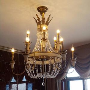 Große hängende Leuchte Bronze Farbe für Foyer Flur Mode Großes Wohnzimmer Kristall Kronleuchter Leuchte Antik Messing Farbe