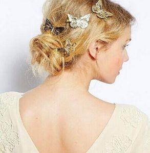 Joyas para el cabello 14K Chapado en oro Estilo breve Mariposa hueca Novia Boda Joyas para el cabello Horquillas para el cabello Mariposa horquilla Clip lateral Sombreros