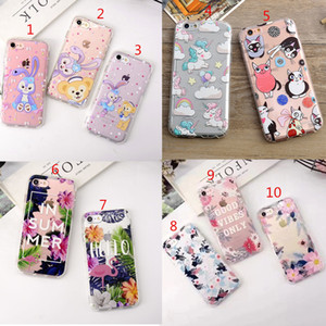 For iphone X 8 7 6 6s Plus Rabbit Bear Unicorn Flamingo In Summer Good Vibes Only Love Flower Soft TPU Cover Case