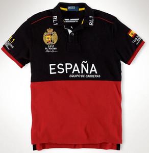 Toptan Büyük At Moda Takımı Yarış Polo T Shirt Erkek Kısa Kollu İspanya S / M / L / XL / XXL Pamuk Nakış Yarışı Ince T-Shirt