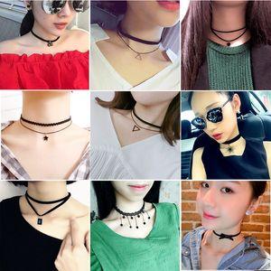 Vintage 50 stücke Gemischt Stil Samt Gürtel Spitze Frauen Halsreifen Kette Halskette Anhänger Schlüsselbein Punk Kette Halskette Großhandel Viele