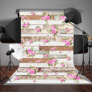 5x7ft (150x200cm) серый и белый дерево стены фотографии фон розовые цветы фонов обои для ребенка Фото